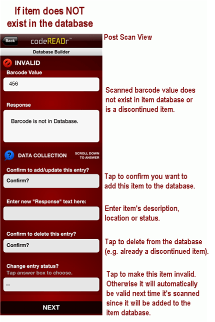 if database item does not exist