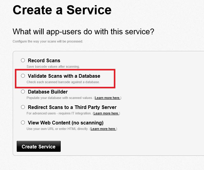 Validation database for scans