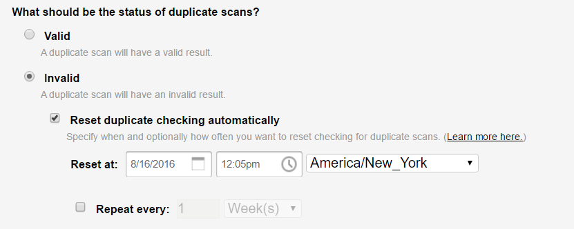 What should be the status of the duplicate scan