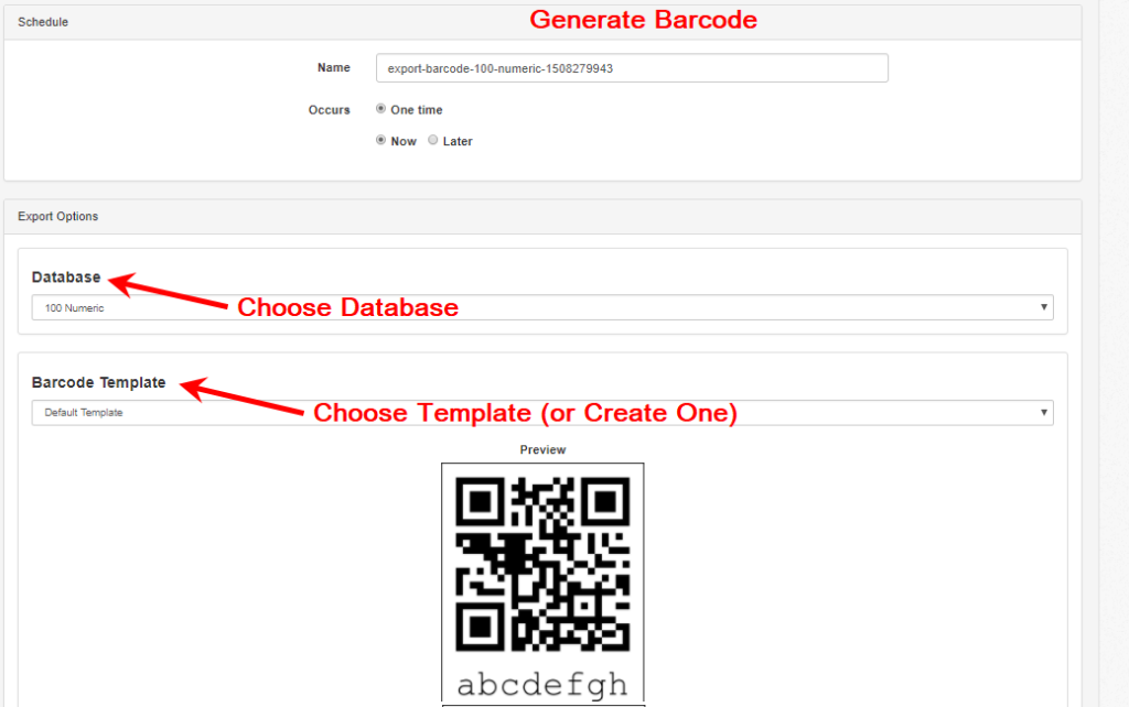 instructions to export barcodes