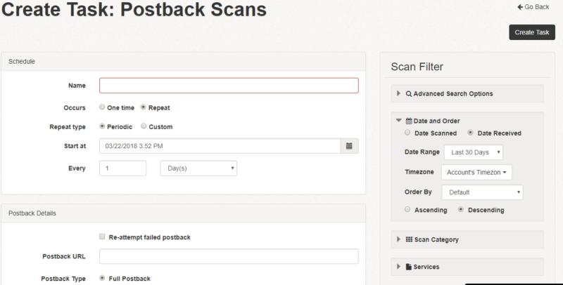 Postback scans