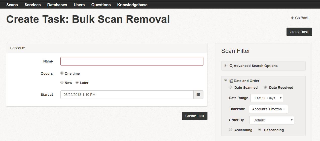 bulk scan removal