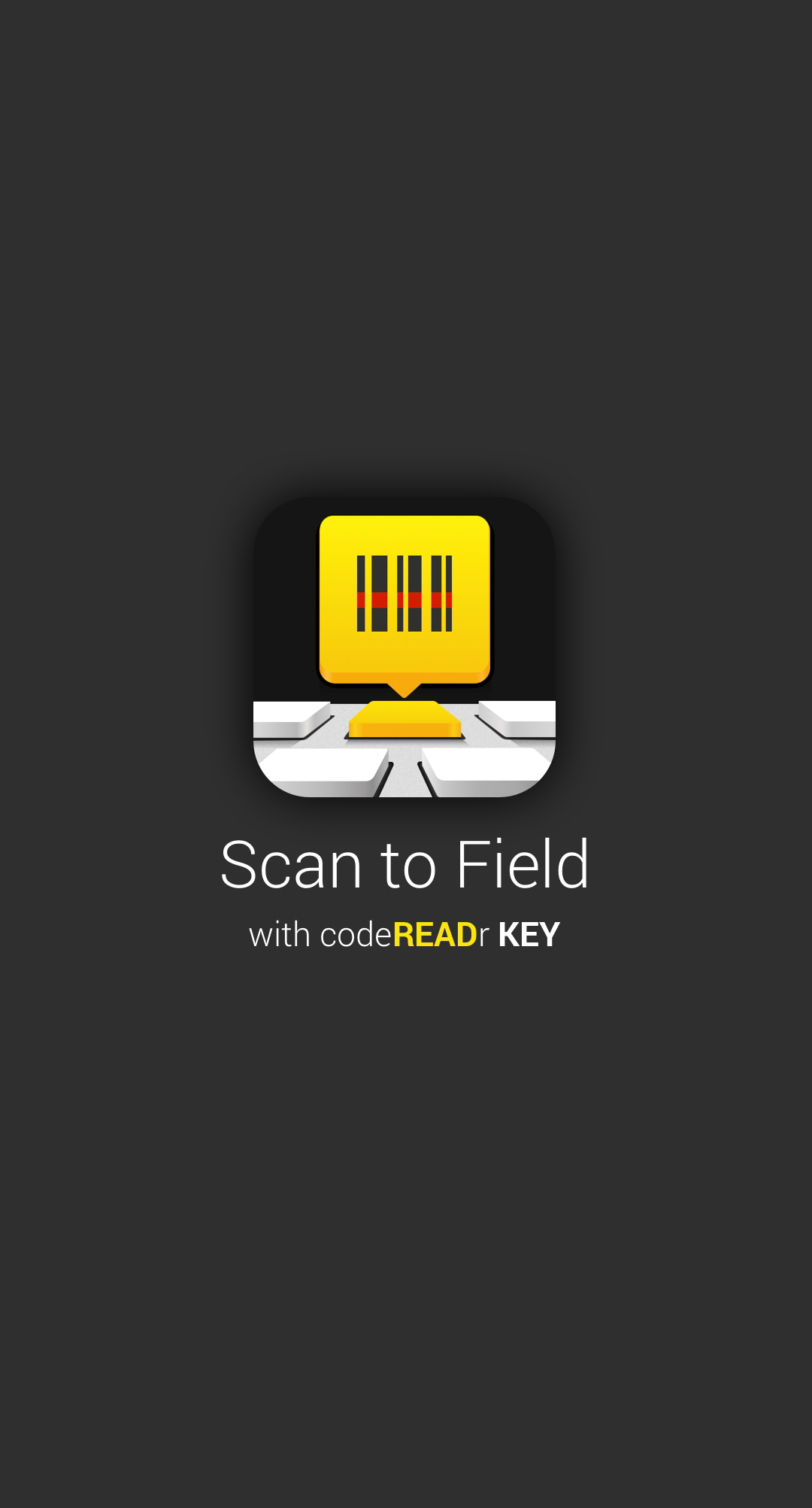 codereadr key splash screen